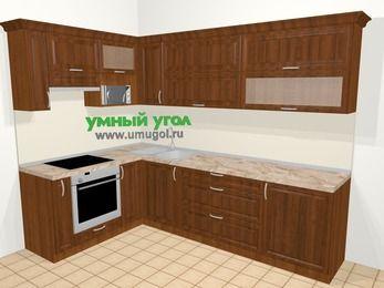 Угловая кухня из массива дерева в классическом стиле 7,2 м², 170 на 270 см, Темно-коричневые оттенки, верхние модули 72 см, верхний модуль под свч, встроенный духовой шкаф
