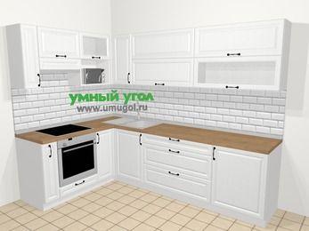 Угловая кухня из массива дерева в скандинавском стиле 7,2 м², 170 на 270 см, Белые оттенки, верхние модули 72 см, верхний модуль под свч, встроенный духовой шкаф