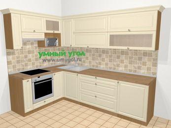 Угловая кухня из массива дерева в стиле кантри 7,2 м², 170 на 270 см, Бежевые оттенки, верхние модули 72 см, верхний модуль под свч, встроенный духовой шкаф