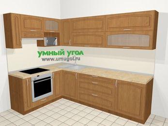 Угловая кухня МДФ патина в классическом стиле 7,2 м², 170 на 270 см, Ольха, верхние модули 72 см, верхний модуль под свч, встроенный духовой шкаф