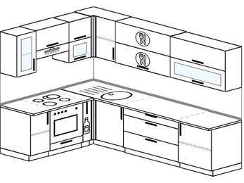 Угловая кухня 7,2 м² (1,7✕2,7 м), верхние модули 72 см, встроенный духовой шкаф