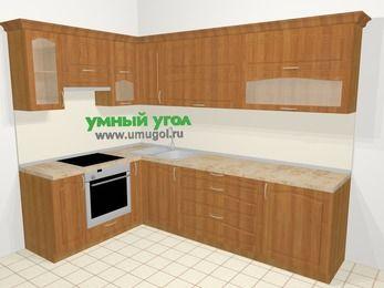 Угловая кухня МДФ матовый в классическом стиле 7,2 м², 170 на 270 см, Вишня, верхние модули 72 см, встроенный духовой шкаф