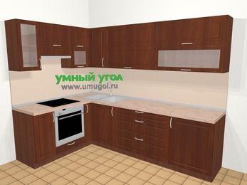 Угловая кухня МДФ матовый в классическом стиле 7,2 м², 170 на 270 см, Вишня темная, верхние модули 72 см, встроенный духовой шкаф