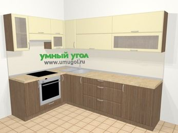 Угловая кухня МДФ матовый в современном стиле 7,2 м², 170 на 270 см, Ваниль / Лиственница бронзовая, верхние модули 72 см, встроенный духовой шкаф