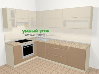 Угловая кухня МДФ матовый в современном стиле 7,2 м², 170 на 270 см, Керамик / Кофе, верхние модули 72 см, встроенный духовой шкаф