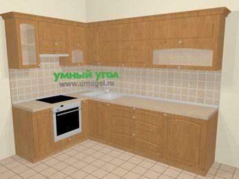 Угловая кухня МДФ матовый в стиле кантри 7,2 м², 170 на 270 см, Ольха, верхние модули 72 см, встроенный духовой шкаф