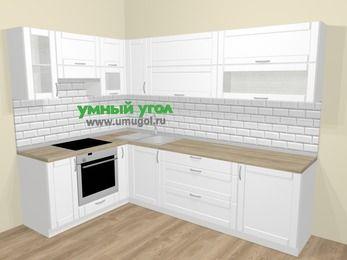Угловая кухня МДФ матовый  в скандинавском стиле 7,2 м², 170 на 270 см, Белый, верхние модули 72 см, встроенный духовой шкаф