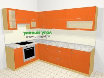 Угловая кухня МДФ металлик в современном стиле 7,2 м², 170 на 270 см, Оранжевый металлик, верхние модули 72 см, встроенный духовой шкаф
