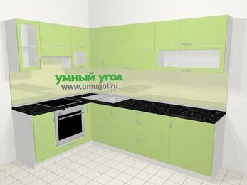 Угловая кухня МДФ металлик в современном стиле 7,2 м², 170 на 270 см, Салатовый металлик, верхние модули 72 см, встроенный духовой шкаф