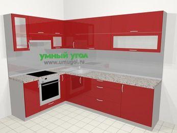 Угловая кухня МДФ глянец в современном стиле 7,2 м², 170 на 270 см, Красный, верхние модули 72 см, встроенный духовой шкаф
