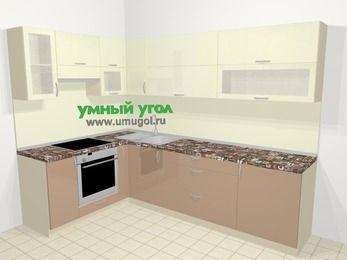Угловая кухня МДФ глянец в современном стиле 7,2 м², 170 на 270 см, Жасмин / Капучино, верхние модули 72 см, встроенный духовой шкаф