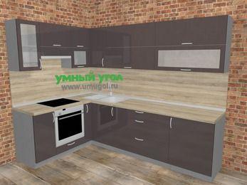 Угловая кухня МДФ глянец в стиле лофт 7,2 м², 170 на 270 см, Шоколад, верхние модули 72 см, встроенный духовой шкаф