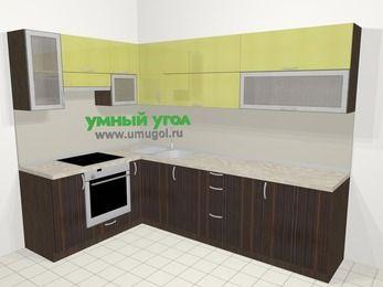 Кухни пластиковые угловые в современном стиле 7,2 м², 170 на 270 см, Желтый Галлион глянец / Дерево Мокка, верхние модули 72 см, встроенный духовой шкаф