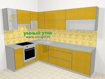 Кухни пластиковые угловые в современном стиле 7,2 м², 170 на 270 см, Желтый глянец, верхние модули 72 см, встроенный духовой шкаф