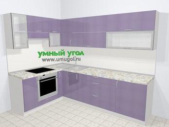 Кухни пластиковые угловые в современном стиле 7,2 м², 170 на 270 см, Сиреневый глянец, верхние модули 72 см, встроенный духовой шкаф