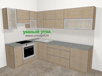 Кухни пластиковые угловые в стиле лофт 7,2 м², 170 на 270 см, Чибли бежевый, верхние модули 72 см, встроенный духовой шкаф