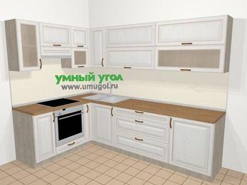 Угловая кухня МДФ патина в классическом стиле 7,2 м², 170 на 270 см, Лиственница белая, верхние модули 72 см, встроенный духовой шкаф