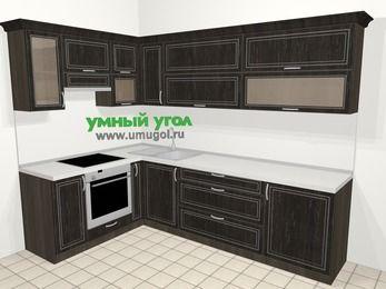 Угловая кухня МДФ патина в классическом стиле 7,2 м², 170 на 270 см, Венге, верхние модули 72 см, встроенный духовой шкаф