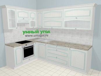 Угловая кухня МДФ патина в стиле прованс 7,2 м², 170 на 270 см, Лиственница белая, верхние модули 72 см, встроенный духовой шкаф