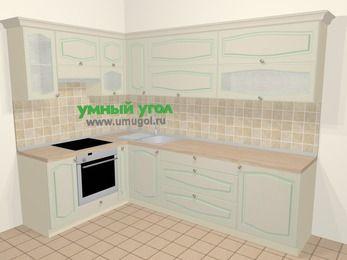 Угловая кухня МДФ патина в стиле прованс 7,2 м², 170 на 270 см, Керамик, верхние модули 72 см, встроенный духовой шкаф
