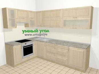 Угловая кухня из массива дерева в классическом стиле 7,2 м², 170 на 270 см, Светло-коричневые оттенки, верхние модули 72 см, встроенный духовой шкаф