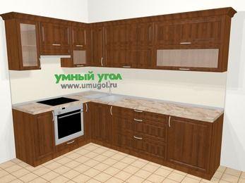 Угловая кухня из массива дерева в классическом стиле 7,2 м², 170 на 270 см, Темно-коричневые оттенки, верхние модули 72 см, встроенный духовой шкаф