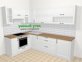Угловая кухня из массива дерева в скандинавском стиле 7,2 м², 170 на 270 см, Белые оттенки, верхние модули 72 см, встроенный духовой шкаф