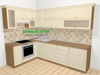 Угловая кухня из массива дерева в стиле кантри 7,2 м², 170 на 270 см, Бежевые оттенки, верхние модули 72 см, встроенный духовой шкаф