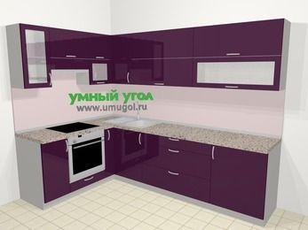 Угловая кухня МДФ глянец в современном стиле 7,2 м², 170 на 270 см, Баклажан, верхние модули 72 см, встроенный духовой шкаф