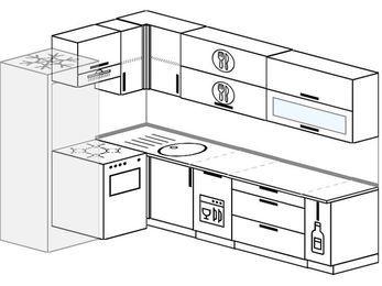 Угловая кухня 7,2 м² (1,7✕2,7 м), верхние модули 72 см, посудомоечная машина, холодильник, отдельно стоящая плита