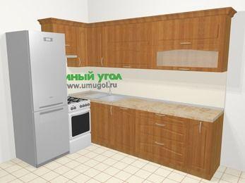 Угловая кухня МДФ матовый в классическом стиле 7,2 м², 170 на 270 см, Вишня, верхние модули 72 см, посудомоечная машина, холодильник, отдельно стоящая плита