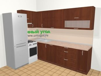 Угловая кухня МДФ матовый в классическом стиле 7,2 м², 170 на 270 см, Вишня темная, верхние модули 72 см, посудомоечная машина, холодильник, отдельно стоящая плита