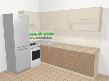 Угловая кухня МДФ матовый в современном стиле 7,2 м², 170 на 270 см, Керамик / Кофе, верхние модули 72 см, посудомоечная машина, холодильник, отдельно стоящая плита