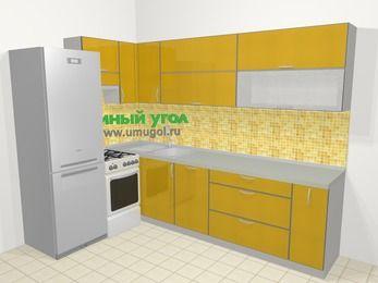 Кухни пластиковые угловые в современном стиле 7,2 м², 170 на 270 см, Желтый глянец, верхние модули 72 см, посудомоечная машина, холодильник, отдельно стоящая плита