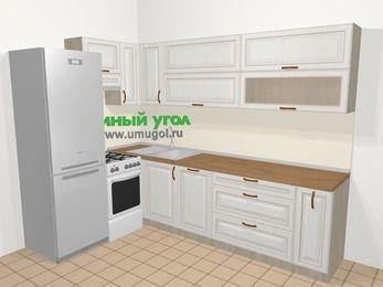 Угловая кухня МДФ патина в классическом стиле 7,2 м², 170 на 270 см, Лиственница белая, верхние модули 72 см, посудомоечная машина, холодильник, отдельно стоящая плита