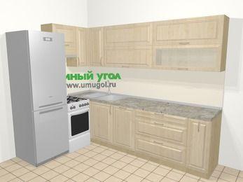 Угловая кухня из массива дерева в классическом стиле 7,2 м², 170 на 270 см, Светло-коричневые оттенки, верхние модули 72 см, посудомоечная машина, холодильник, отдельно стоящая плита