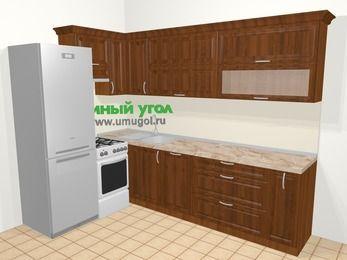 Угловая кухня из массива дерева в классическом стиле 7,2 м², 170 на 270 см, Темно-коричневые оттенки, верхние модули 72 см, посудомоечная машина, холодильник, отдельно стоящая плита