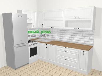 Угловая кухня из массива дерева в скандинавском стиле 7,2 м², 170 на 270 см, Белые оттенки, верхние модули 72 см, посудомоечная машина, холодильник, отдельно стоящая плита