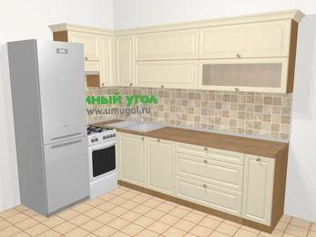 Угловая кухня из массива дерева в стиле кантри 7,2 м², 170 на 270 см, Бежевые оттенки, верхние модули 72 см, посудомоечная машина, холодильник, отдельно стоящая плита