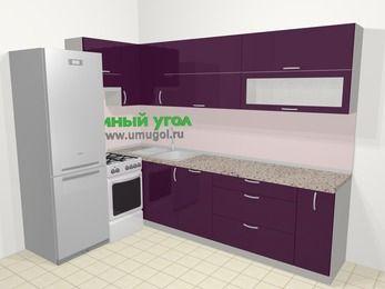 Угловая кухня МДФ глянец в современном стиле 7,2 м², 170 на 270 см, Баклажан, верхние модули 72 см, посудомоечная машина, холодильник, отдельно стоящая плита