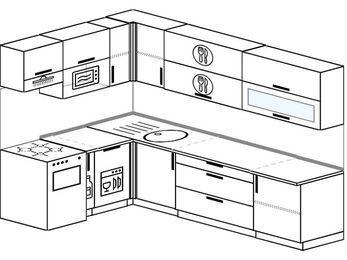 Угловая кухня 7,2 м² (1,7✕2,7 м), верхние модули 72 см, посудомоечная машина, верхний модуль под свч, отдельно стоящая плита