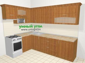 Угловая кухня МДФ матовый в классическом стиле 7,2 м², 170 на 270 см, Вишня, верхние модули 72 см, посудомоечная машина, верхний модуль под свч, отдельно стоящая плита