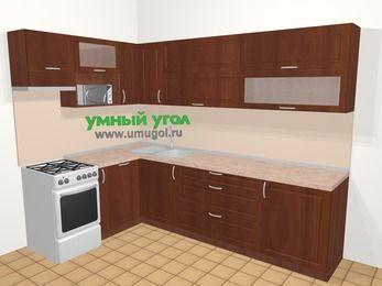 Угловая кухня МДФ матовый в классическом стиле 7,2 м², 170 на 270 см, Вишня темная, верхние модули 72 см, посудомоечная машина, верхний модуль под свч, отдельно стоящая плита