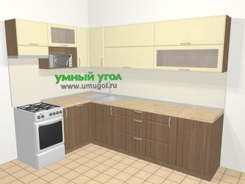 Угловая кухня МДФ матовый в современном стиле 7,2 м², 170 на 270 см, Ваниль / Лиственница бронзовая, верхние модули 72 см, посудомоечная машина, верхний модуль под свч, отдельно стоящая плита