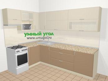 Угловая кухня МДФ матовый в современном стиле 7,2 м², 170 на 270 см, Керамик / Кофе, верхние модули 72 см, посудомоечная машина, верхний модуль под свч, отдельно стоящая плита