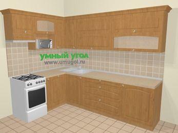 Угловая кухня МДФ матовый в стиле кантри 7,2 м², 170 на 270 см, Ольха, верхние модули 72 см, посудомоечная машина, верхний модуль под свч, отдельно стоящая плита