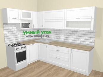 Угловая кухня МДФ матовый  в скандинавском стиле 7,2 м², 170 на 270 см, Белый, верхние модули 72 см, посудомоечная машина, верхний модуль под свч, отдельно стоящая плита
