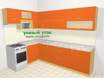 Угловая кухня МДФ металлик в современном стиле 7,2 м², 170 на 270 см, Оранжевый металлик, верхние модули 72 см, посудомоечная машина, верхний модуль под свч, отдельно стоящая плита