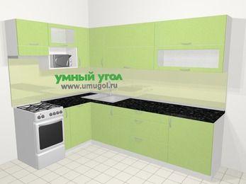 Угловая кухня МДФ металлик в современном стиле 7,2 м², 170 на 270 см, Салатовый металлик, верхние модули 72 см, посудомоечная машина, верхний модуль под свч, отдельно стоящая плита