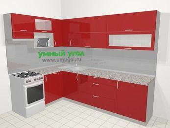 Угловая кухня МДФ глянец в современном стиле 7,2 м², 170 на 270 см, Красный, верхние модули 72 см, посудомоечная машина, верхний модуль под свч, отдельно стоящая плита
